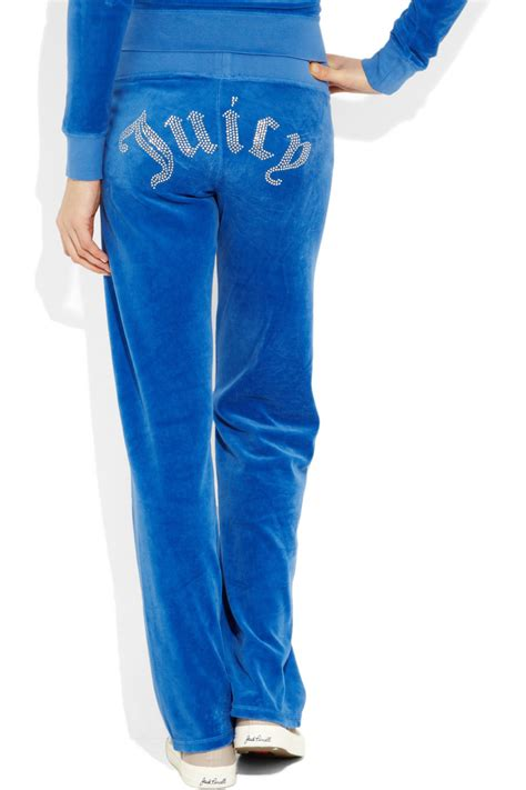 Lyst - Juicy couture Embellished Velour Track Pants in Blue