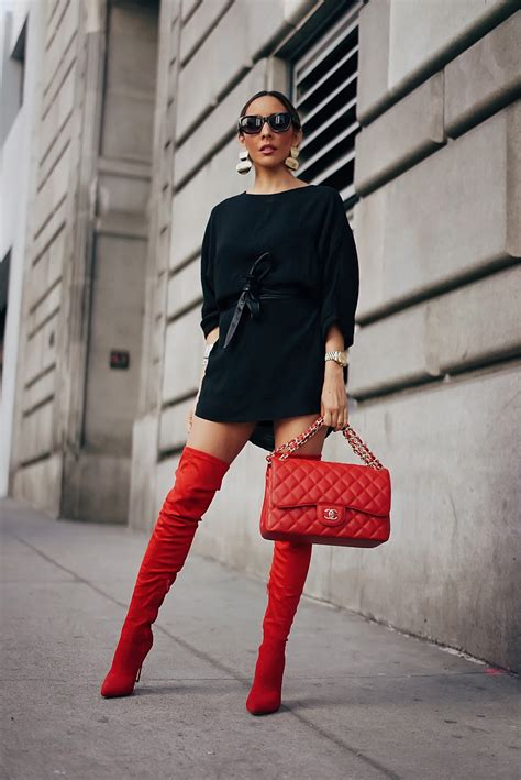 How To Wear Red Thigh High Boots   Haute Instinct