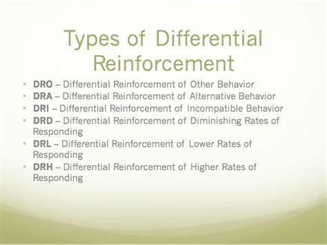 6 types of differential reinforcement   Aba training