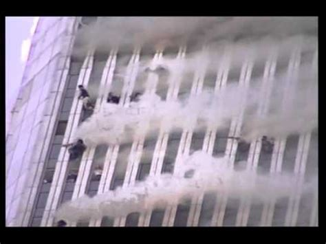Above the 100th floor, WTC1 burns on 9/11 - stabilized